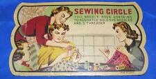Vtg 1940'S Paper Sewing Circle Needle Kit, Made Japan, Used, Creases