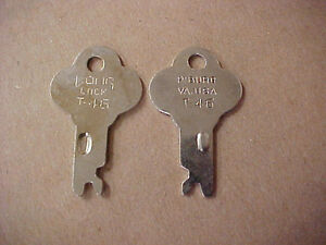 Two (2) Trunk Lock Keys T-46 T44 T46K Long Lock Co - Fits many footlockers