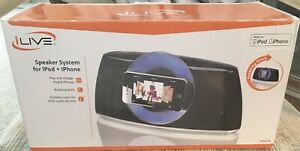 NIB ILIVE Speaker System For Ipod + Iphone Rotating Dock ISP301B Play N Chrg Phn