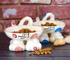 Personalised Ceramic hand painted cat kitten pet legged bowl dish feeder spots