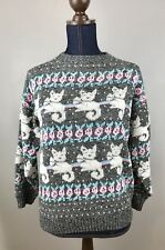 Women's Knit Cats Sweater Roses Crazy Cat Lady Kitties Sm/ Med Gray Pink Blue AM