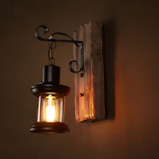 Vintage Industrial Retro Wood Sconce Cafe Bar Wall Lamp Fixture Wall Loft Light