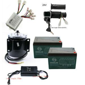 12Ah Battery + 24V 500W Motor Brush Controller Throttle Grip for Scooter Go kart