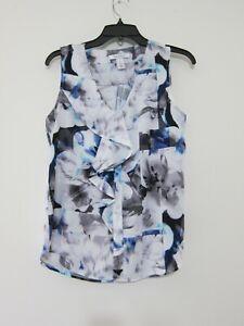 White House Black Market Sleeveless Blouse S Gray Ruffle Polyester Floral V-Neck