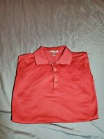 Peter Millar 100% Cotton Red Short Sleeve golf Polo Shirt Men's Size LARGE
