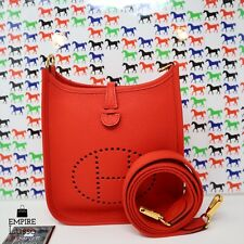 2020 NEW HERMES EVELYN MINI TPM CLEMENCE GOLD HARDWARE ROUGE TOMATE RED HOT BAG