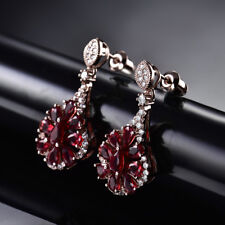 HUCHE Luxury Red Flower Sapphire Ruby Rose Gold Filled Dangle Drop Lady Earrings