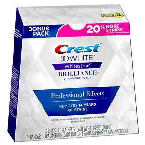 Crest 3D Brilliance WHITE Whitestrips Professional Effects 5 treatments 10 Strip