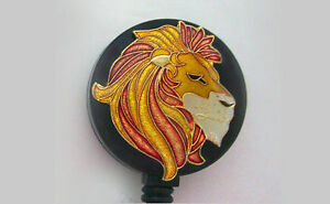 LION Retractable Badge Reel Security ID Card Holder Key chain Ring Metallic Gold