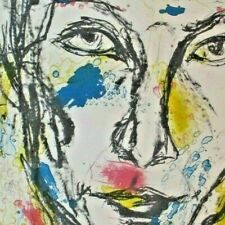 "Vintage Bright Outsider Watercolor Sketch ""Self in a Good Mood"" Art Print Signed"