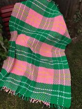 VINTAGE HAND CROCHET PINK, GREEN, YELLOW & WHITE PLAID AFGHAN WITH FRINGE