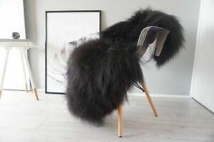 Genuine Icelandic Sheepskin Rug Black Brown Fluffy Super Soft Silky Long Wool