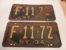 VINTAGE 1934 NEW YORK LICENSE PLATE - ORIGINAL MATCHING PAIR