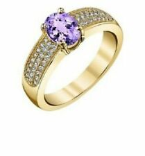 14k Yellow Gold Plated 1.45 Carat Amethyst and White Topaz Brass Ring - Size 8