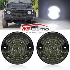 For Land Rover Defender 90/110 83-90 Led Side Marker Light White Smoked Lens 2pc