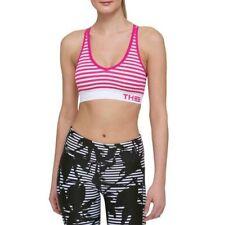Tommy Hilfiger V-Neck Strappy Medium Impact Sport Bra Medium, Pink Stripe #2577