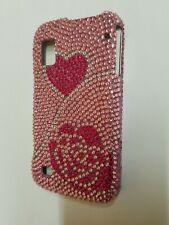 Rare Pink Hearts Diamond Dazzle Case Cover For Boost Mobile ZTE Warp N860 Phone