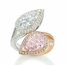 Cocktail Party Jewelry 925 Sterling Silver White Pink Pear By Pass Split Cz Gift