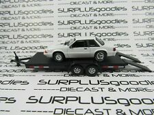 Greenlight Loose Track Day White 1992 Ford Mustang Lx 5.0 Drag w/Car Trailer