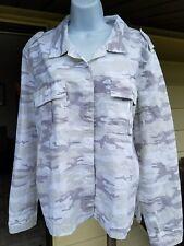 New SANCTUARY Women XL Neutral White Beige CAMO Lightweight 2 Pocket Jacket HTF