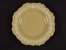 RARE 1800s PLATE with WHITE SPRIGGED GRAPE VINES YELLOW WARE MINT