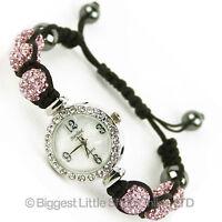 Quality Shamballa WATCH Bracelet Real Czech Crystals Shambala Disco Balls PINK