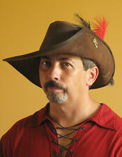 96b905721219f Medieval Celtic Renaissance SCA Larp Leather Musketeer Hat with Fleur de Lys