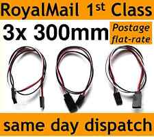 3x 300mm Servo Extension Lead Wire Cable for RC/Futaba/JR/Hitec/Sanwa