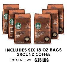 Starbucks Breakfast Blend Medium Roast Ground Coffee, 18 oz, 6/CASE, OCT/2021