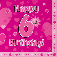 16 Pack Pink Girl 6 TODAY Happy 6th Birthday Hearts Luncheon Paper Napkin 3ply