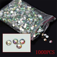 1000Pcs 4mm Nail Art Facets Rhinestone Flatback Crystal AB Round Beads Wholesale