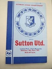 Wycombe Wanderers V Sutton United  1971/2