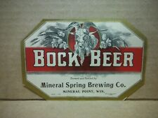 New listing Bock Beer Label-Mineral Spring Brg.,Mineral Point,Wis.