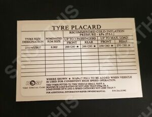 Tyre Placard Decal/Sticker - VP/VR/VS GTS. VR/VS Senator. VS Manta 23B-251902
