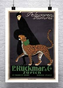 Woman Walking Leopard Vintage Art Deco Advertising Poster Paper Giclee 24x32 in.