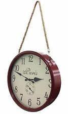 Station Metal Wall Clock Paris with Hanging Rope DARK RED 40cm diam Round French