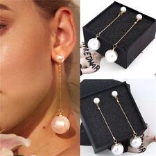 Elegant Women White Pearl Long Dangle Earrings Gold Plated Stud Drop Jewelry JT