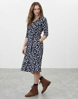 Joules Womens Ariella 3/4 Length Sleeve Midi Jersey Dress - Navy Beige Floral