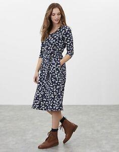 Joules Womens Ariella 3/4 Length Sleeve Midi Jersey Dress - Navy Beige Floral