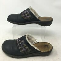 UGG Opaline Shearling Clog Mules Casual Slip On Knit Leather Black Womens 7.5