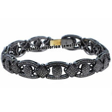 Victorian Inspired 7.65cts Natural Pave Rose Cut Diamond Silver Bracelet Jewelry
