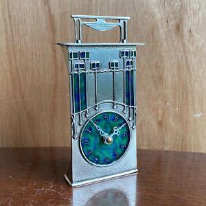 Pewter Enamel Clock AK33 - AE Williams UK - Art Nouveau Archibald Knox Style New