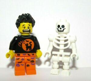 Lego Skeleton Minifigure & Scared Boy Halloween Bat Cat Pumpkin Outfit Monster