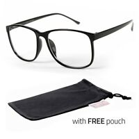 Large Oversized Vintage Glasses Clear Lens Thin Frame Nerd Glasses Retro POUCH