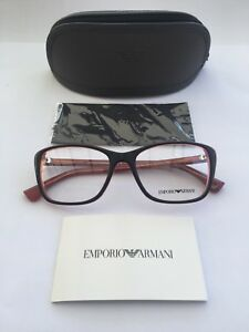 New Emporio Armani Ladies Ophthalmic Frame Model 3083 in Colour 5514 Black/Coral