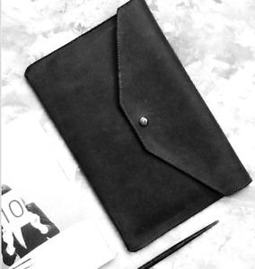 file Folder pocket cow Leather Messenger bag iPad laptop package case black H34