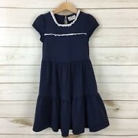 Hanna Andersson Toddler Girls Navy Blue Lace Trim Cap Sleeve Dress. Size 100(4)
