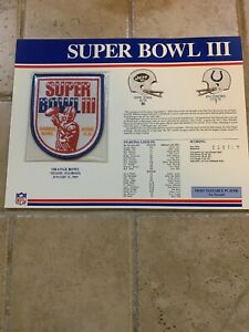NFL SUPER BOWL 3 III Jets vs Colts 1969 Willabee & Ward Patch