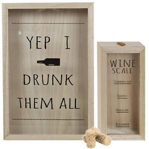 Wooden Wine Cork Box Dispenser Container Decorative Novel Home Display Item NEW