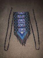 "Lakota Sioux Native American All Glass Beaded Medicine Bag/Pouch 6"" X 4.5"""